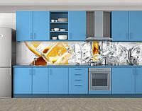 Кухонный фартук Апельсины и лед, Стеновая панель для кухни с фотопечатью, еда, белый