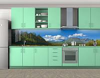 Кухонный фартук Зеленые горы, Пленка для кухонного фартука с фотопечатью, Природа, синий