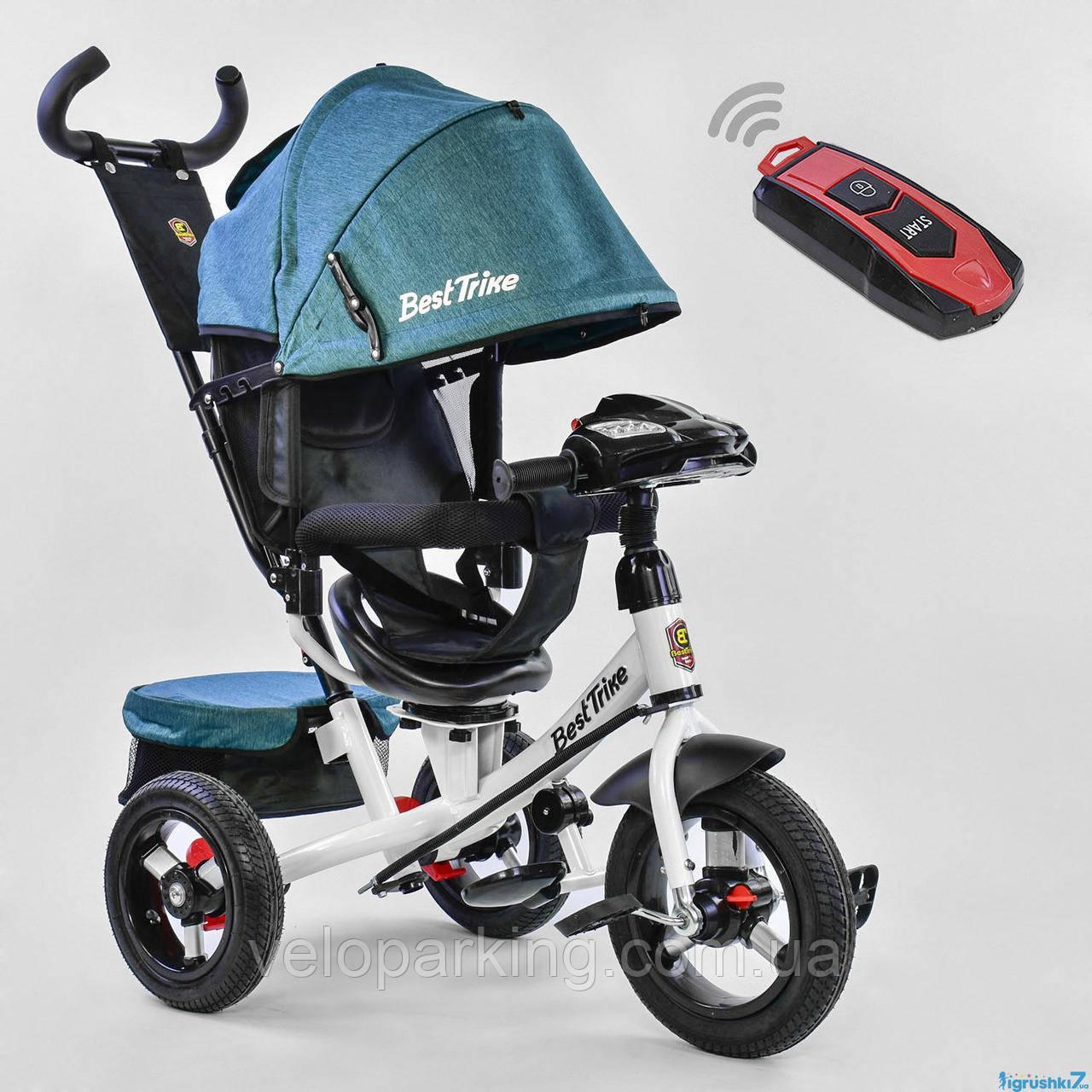 Трехколесный детский велосипед Best Trike 7700 В (2019) (надувные колеса & пульт света & поворотное сидение)