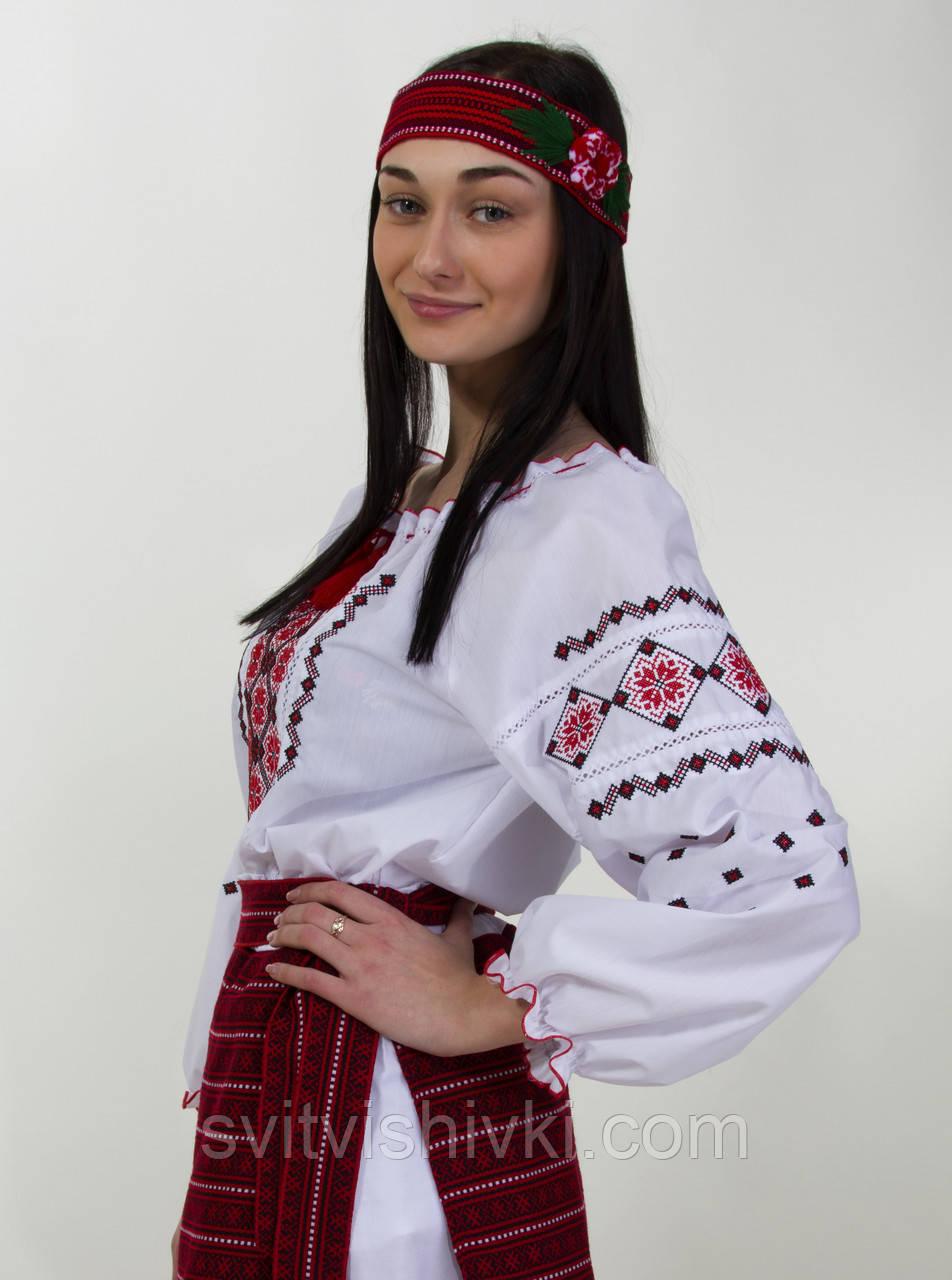 Женская вышитая блуза красным крестиком на белом батисте