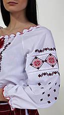 Женская вышитая блуза красным крестиком на белом батисте, фото 2