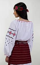 Женская вышитая блуза красным крестиком на белом батисте, фото 3