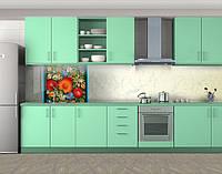 Кухонный фартук Национальная роспись и мрамор, Защитная пленка на кухонный фартук с фотопечатью, Текстуры, фоны, бежевый