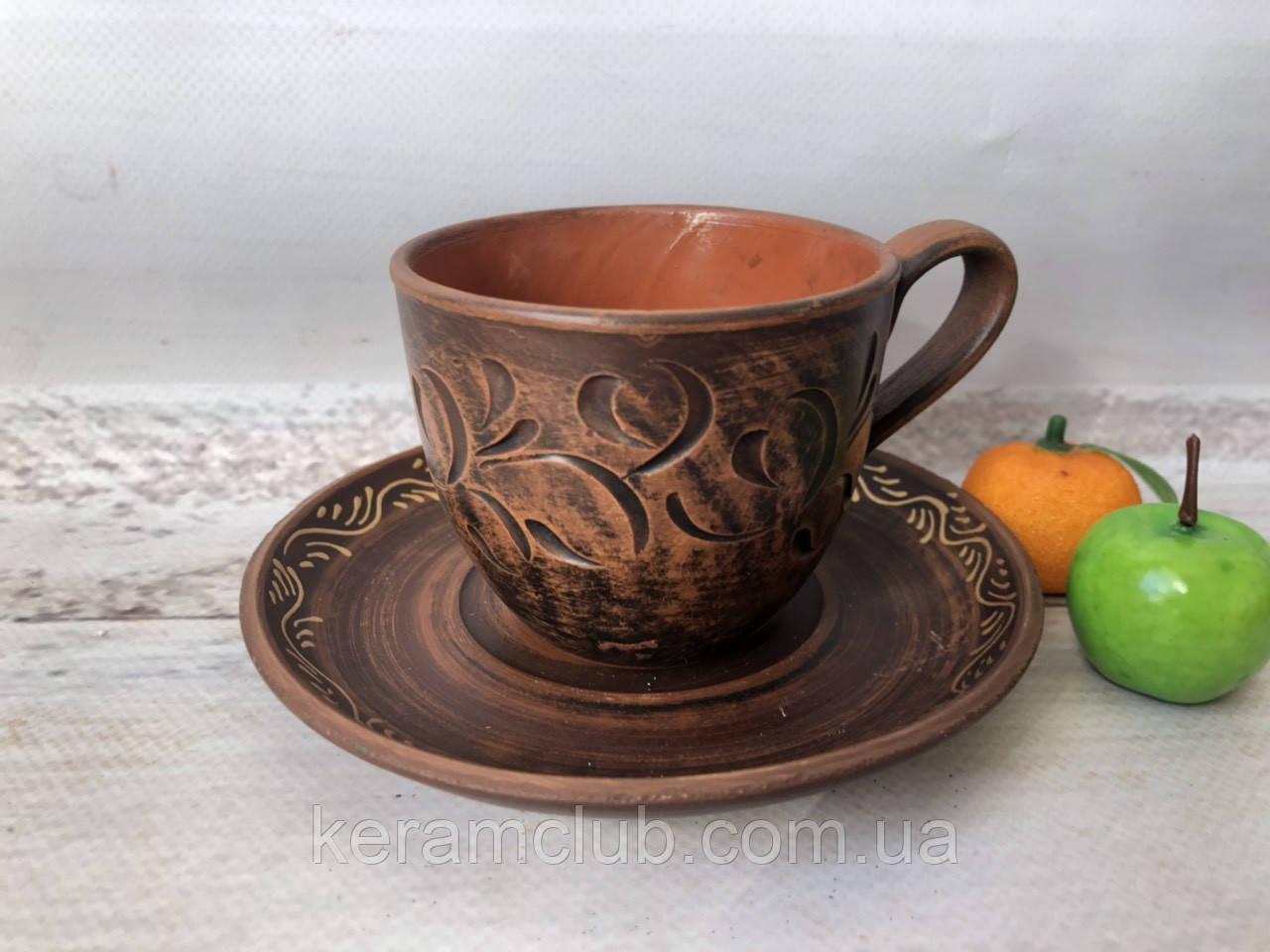 Кофейная чашка из красной глины 180 мл с блюдцем