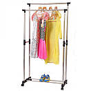 Двойная телескопическая вешалка стойка для одежды напольная Double Pole Clothers Horse (30 кг), фото 7