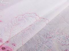 Коттон выш односторонний купон односторонний 23 см, розовый на белом