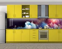 Кухонный фартук Яркие космические краски, Наклейка на кухонный фартук, Космос, черный