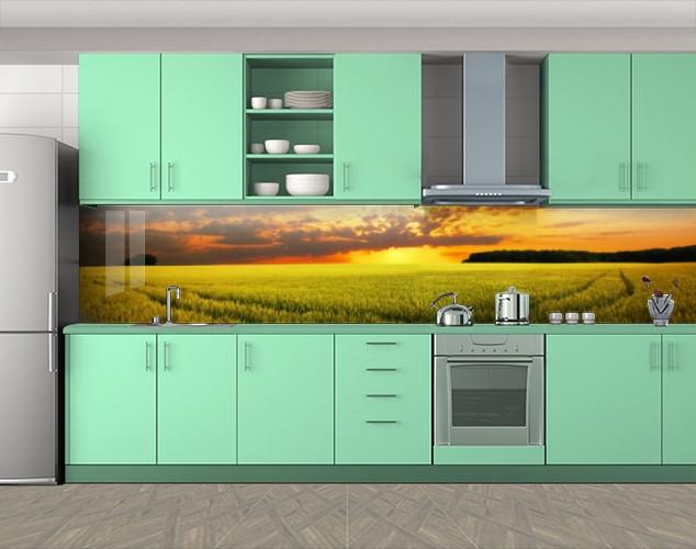 Кухонный фартук Поле на закате, Пленка для кухонного фартука с фотопечатью, Природа, зеленый