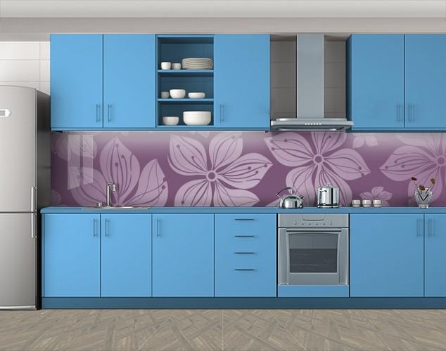 Кухонный фартук Нарисованный Клематис, Кухонный фартук на самоклеящееся пленке с фотопечатью, Цветы, фиолетовый