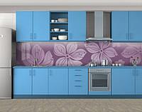 Кухонный фартук Нарисованный Клематис, Кухонный фартук на самоклеящееся пленке с фотопечатью, Цветы, фиолетовый, фото 1