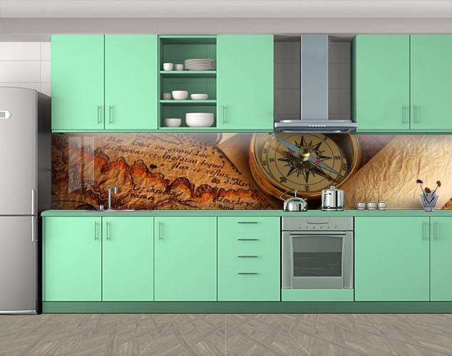 Кухонный фартук Компас и карты, Кухонный фартук с фотопечатью, Разное, коричневый, 600*3000 мм
