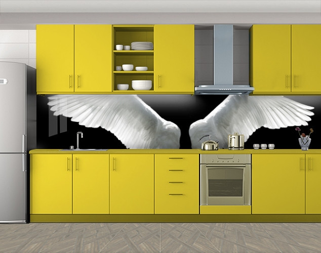 Кухонный фартук Белые ангельские крылья, Наклейка на кухонный фартук, Животный мир, черный, 600*3000 мм