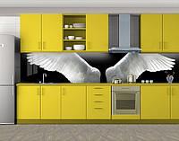 Кухонный фартук Белые ангельские крылья, Наклейка на кухонный фартук, Животный мир, черный, 600*3000 мм, фото 1