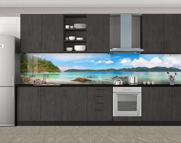 Кухонный фартук Лазурный берег, Пленка для кухонного фартука с фотопечатью, Природа, голубой, 600*3000 мм