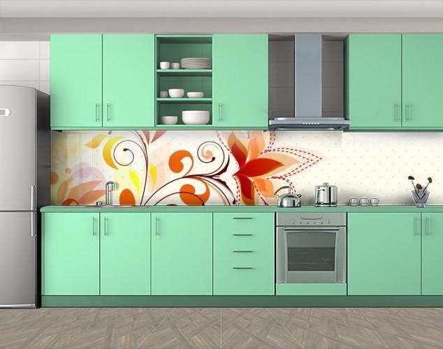 Кухонный фартук Рисунок цветов, Фотопечать скинали на кухню, Цветы, бежевый