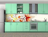 Кухонный фартук Рисунок цветов, Фотопечать скинали на кухню, Цветы, бежевый, фото 1