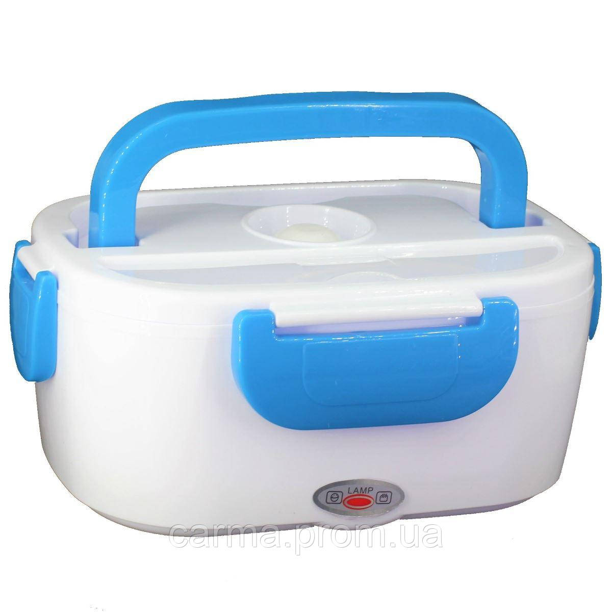 Электрический ланч бокс с подогревом от сети 220В Electric Lunch Box 1.05 л Белый с синим