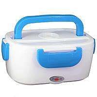 Электрический ланч бокс с подогревом от сети 220В Electric Lunch Box 1.05 л Белый с синим, фото 1