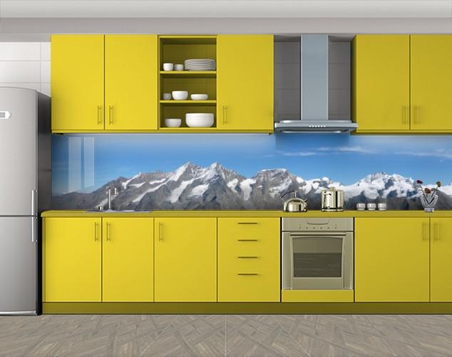 Кухонный фартук Снежные вершины, Кухонный фартук на самоклеящееся пленке с фотопечатью, Природа, голубой