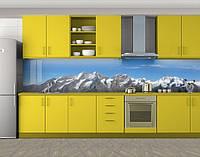 Кухонный фартук Снежные вершины, Кухонный фартук на самоклеящееся пленке с фотопечатью, Природа, голубой, фото 1