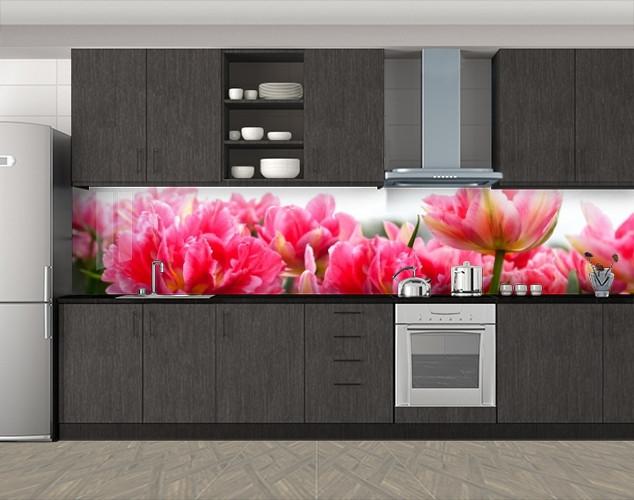 Кухонный фартук Полные пышные тюльпаны, Стеновая панель с фотопечатью, Цветы, розовый, 600*3000 мм