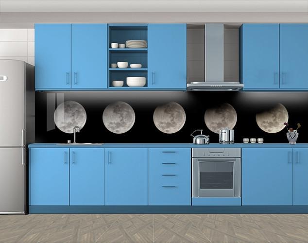 Кухонный фартук Лунный цикл, Стеновая панель с фотопечатью, Космос, черный, 600*3000 мм