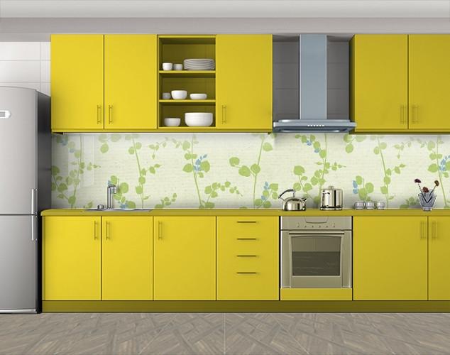 Кухонный фартук Травяные побеги, Наклейка на кухонный фартук, Текстуры, фоны, зеленый, 600*3000 мм