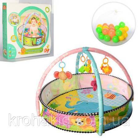 Розвиваючий килимок - басейн з кульками FC063 / килимок з бортиками - 60-56,5-8 см, фото 2