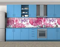 Кухонный фартук Нарисованное лето, Пленка для кухонного фартука с фотопечатью, Цветы, розовый