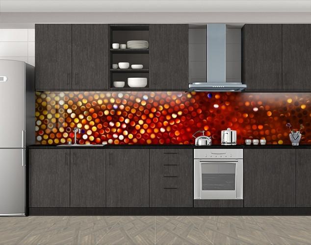 Кухонный фартук Мозаика круги, Защитная пленка на кухонный фартук с фотопечатью, Абстракции, коричневый, 600*3000 мм