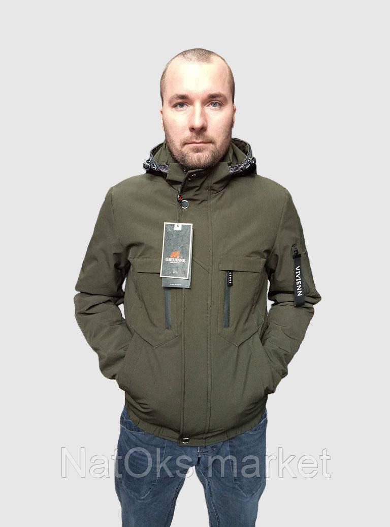 Стильная мужская куртка, под резинку (весна - осень) хаки