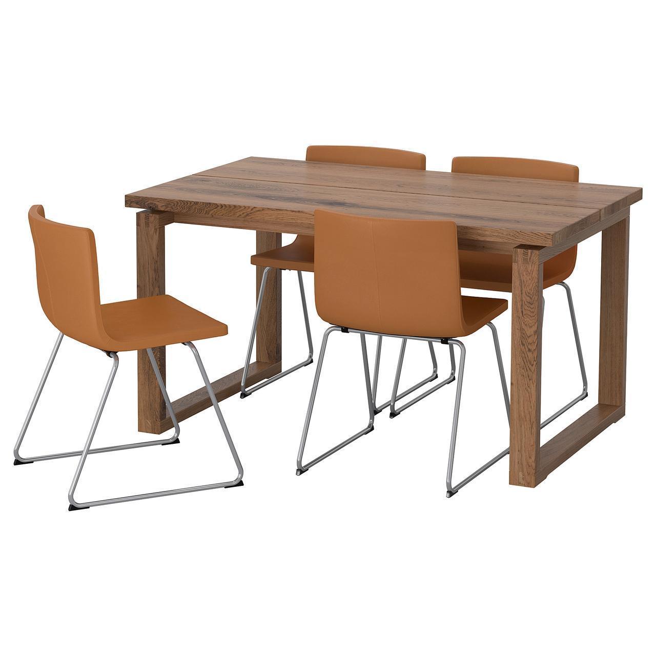 Комплект для кухни (стол и 4 стула) IKEA MÖRBYLÅNGA / BERNHARD 140x85 см Mjuk натуральный дуб 892.807.14