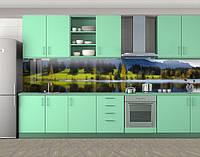 Кухонный фартук Весенний речной берег, Кухонный фартук на самоклеящееся пленке с фотопечатью, Природа, зеленый