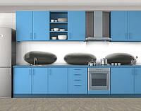 Кухонный фартук Большие круглые камни, Пленка для кухонного фартука с фотопечатью, Разное, белый
