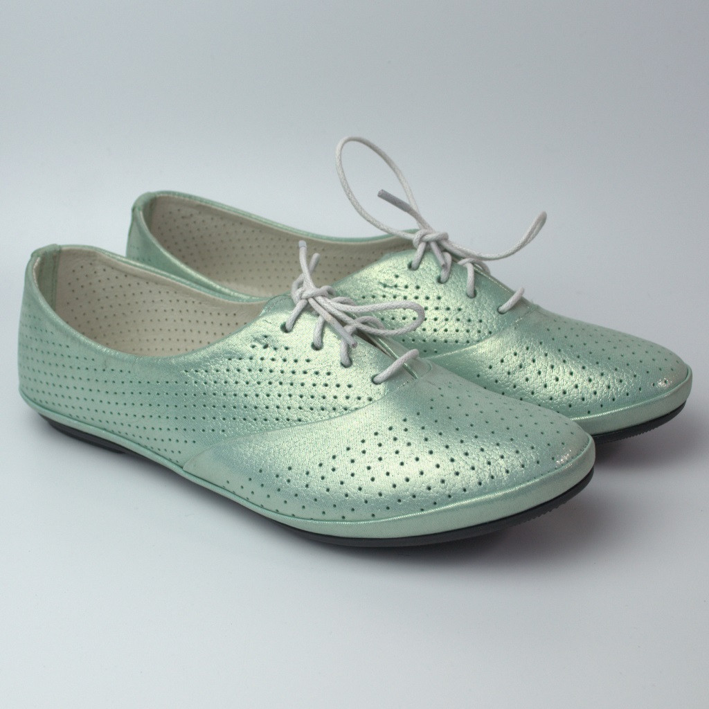 Балетки бирюзовые летние кожаные женская обувь больших размеров LaCoSe V Turquoise Perl Perf Leather BS