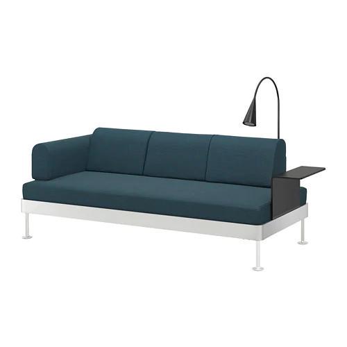 Трехместный диван с лампой и столиком IKEA DELAKTIG Hillared белый бирюзовый 192.597.68