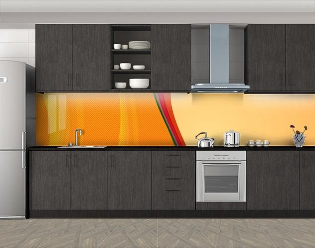 Кухонный фартук Абстрактные переливы, Самоклеящаяся скинали с фотопечатью, Абстракции, оранжевый