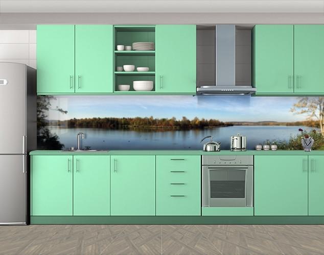 Кухонный фартук Речной остров с растительностью, Пленка для кухонного фартука с фотопечатью, Природа, голубой