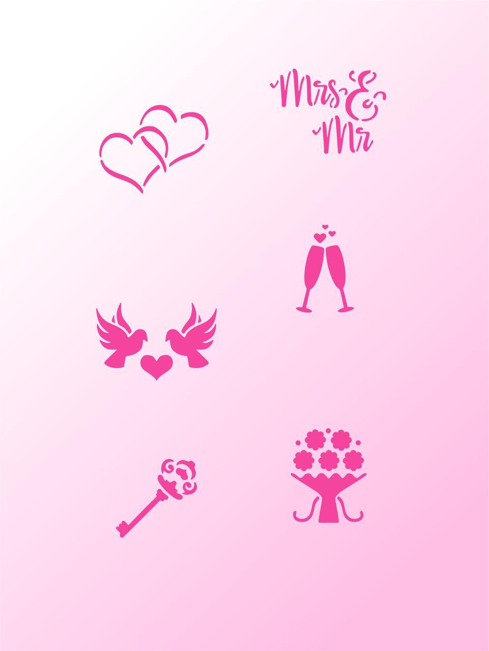 Трафарет Свадебные символы №1