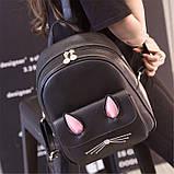 Рюкзак девушка кожаный черный сделанный в Китай спортивный городской стильный только опт, фото 2