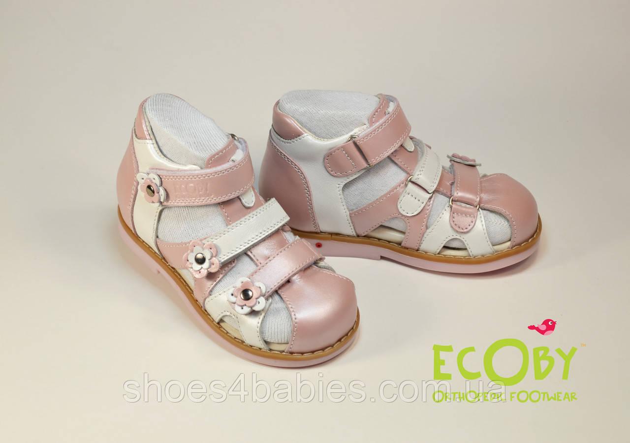 Босоножки кожаные для девочки Ecoby (Экоби), 010LP розовые с белым
