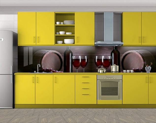 Кухонный фартук Винные бокалы и бочки, Наклейка на кухонный фартук, Еда, напитки, коричневый, 600*3000 мм