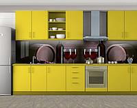 Кухонный фартук Винные бокалы и бочки, Наклейка на кухонный фартук, Еда, напитки, коричневый, 600*3000 мм, фото 1