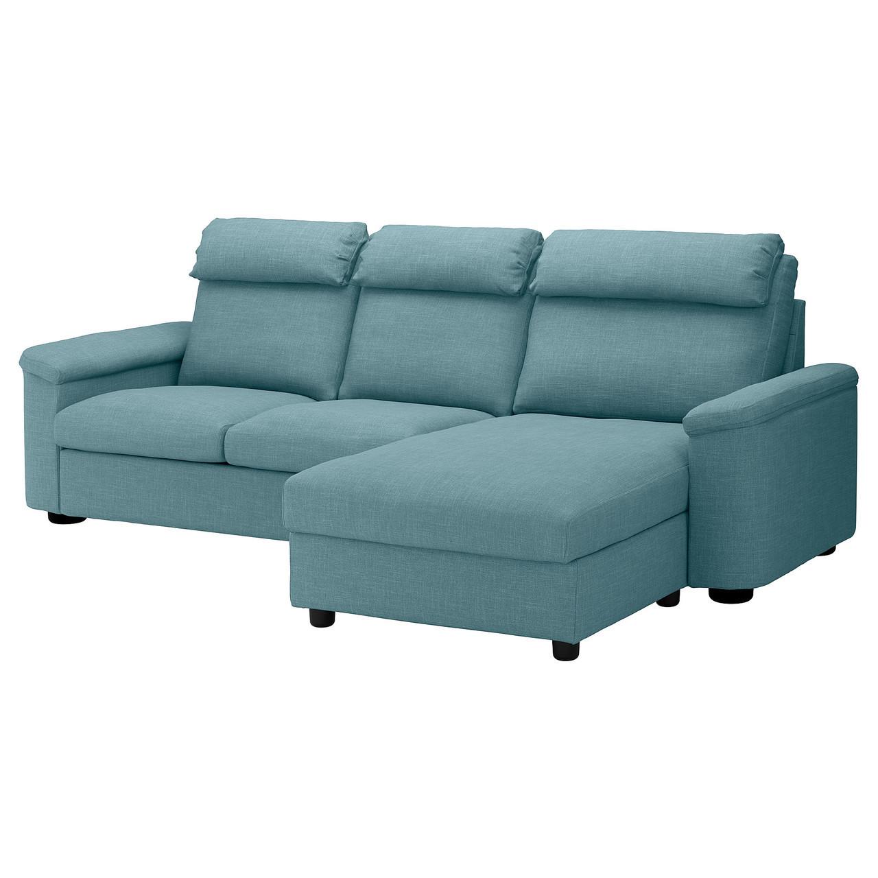 Диван IKEA LIDHULT 3-местный с шезлонгом Gassebol голубой 992.571.57