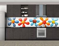 Кухонный фартук Цветы из пластилина, Пленка для кухонного фартука с фотопечатью, Цветы, белый