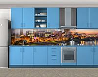 Кухонный фартук Огни вечернего города, Самоклеящаяся стеновая панель для кухни, Город ночью, коричневый