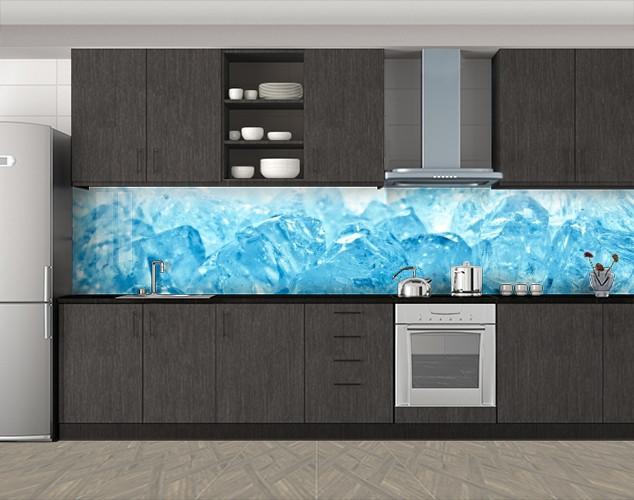 Кухонный фартук Лед макро, Кухонный фартук на самоклеящееся пленке с фотопечатью, Текстуры, фоны, голубой