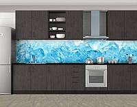 Кухонный фартук Лед макро, Кухонный фартук на самоклеящееся пленке с фотопечатью, Текстуры, фоны, голубой, 600*3000 мм