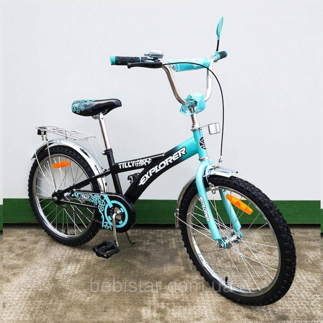 Детский двухколесный велосипед черный с бирюзой TILLY EXPLORER 20  для деток 6-9 лет