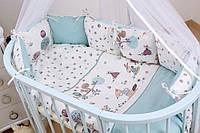 Комплект в кроватку Twins Dolce 6 ел /бампер подушки/ Forest mint, фото 1